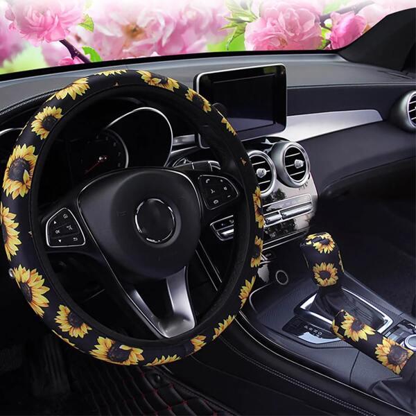 Floral Pattern Steering Wheel & Handbrake & Gear Shift Cover, Black