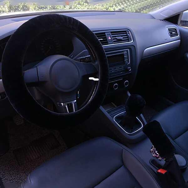 Plain Steering Wheel & Handbrake & Gear Shift Cover, Black