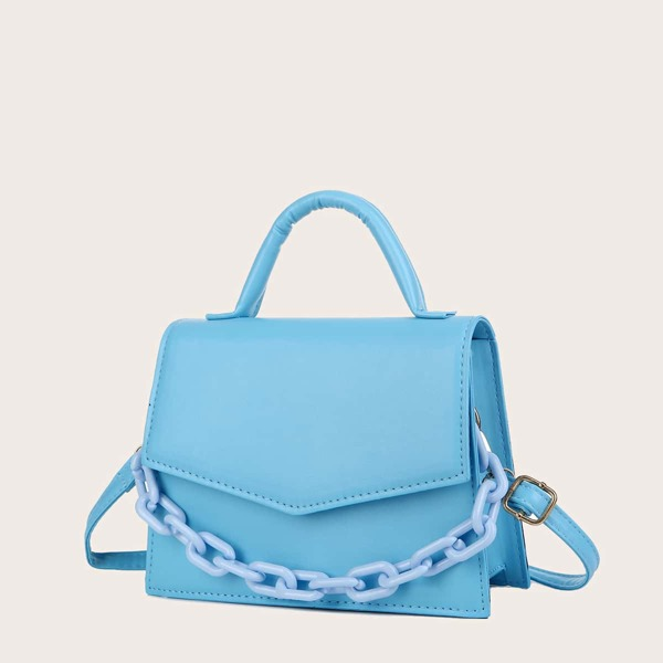 Minimalist Chain Flap Satchel Bag, Blue
