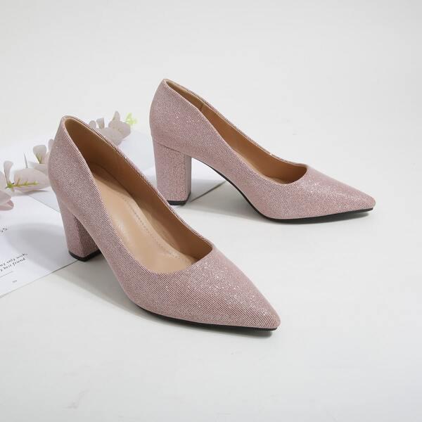 Minimalist Point Toe Chunky Heeled Court Pumps, Pink