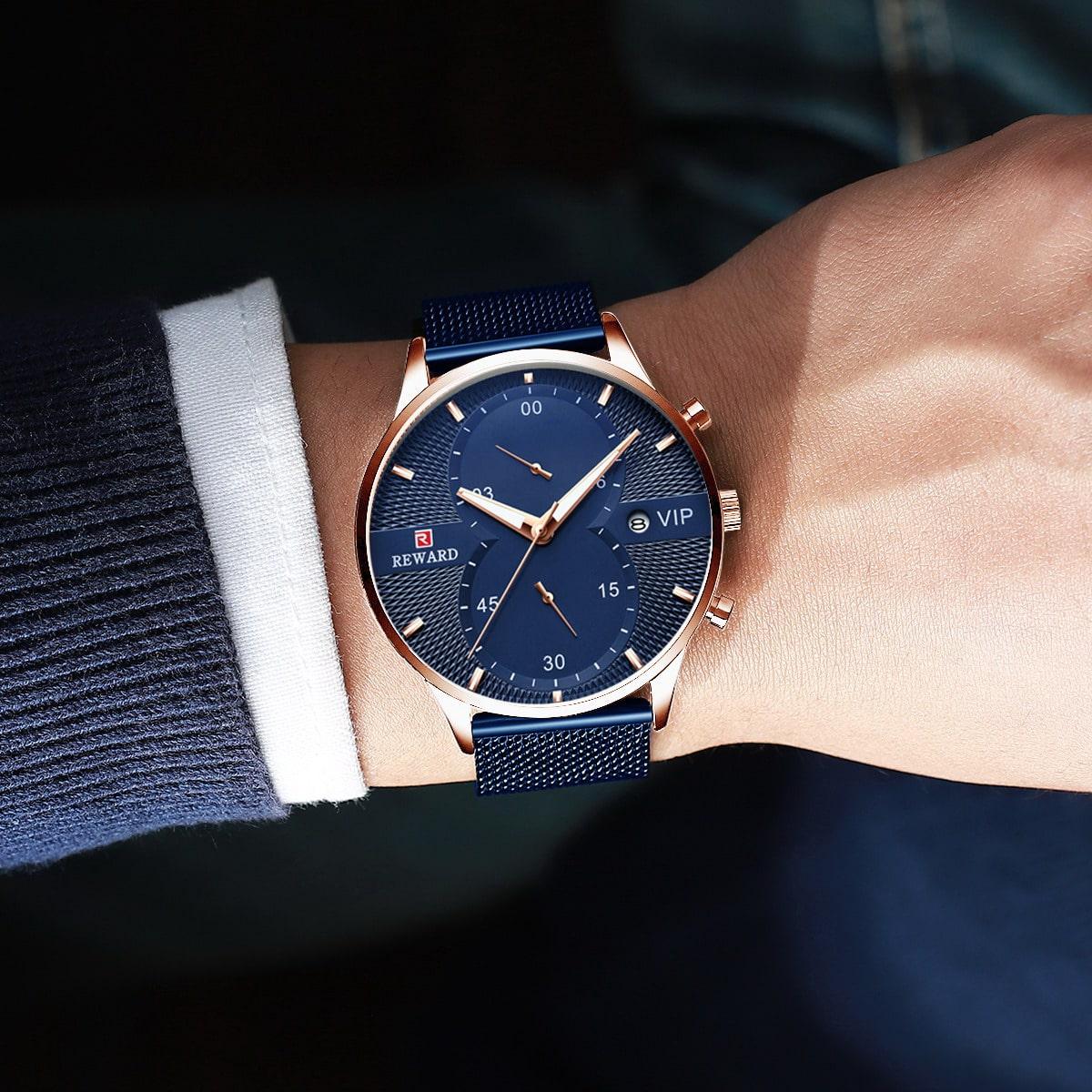 Men Mesh Strap Round Pointer Date Quartz Watch