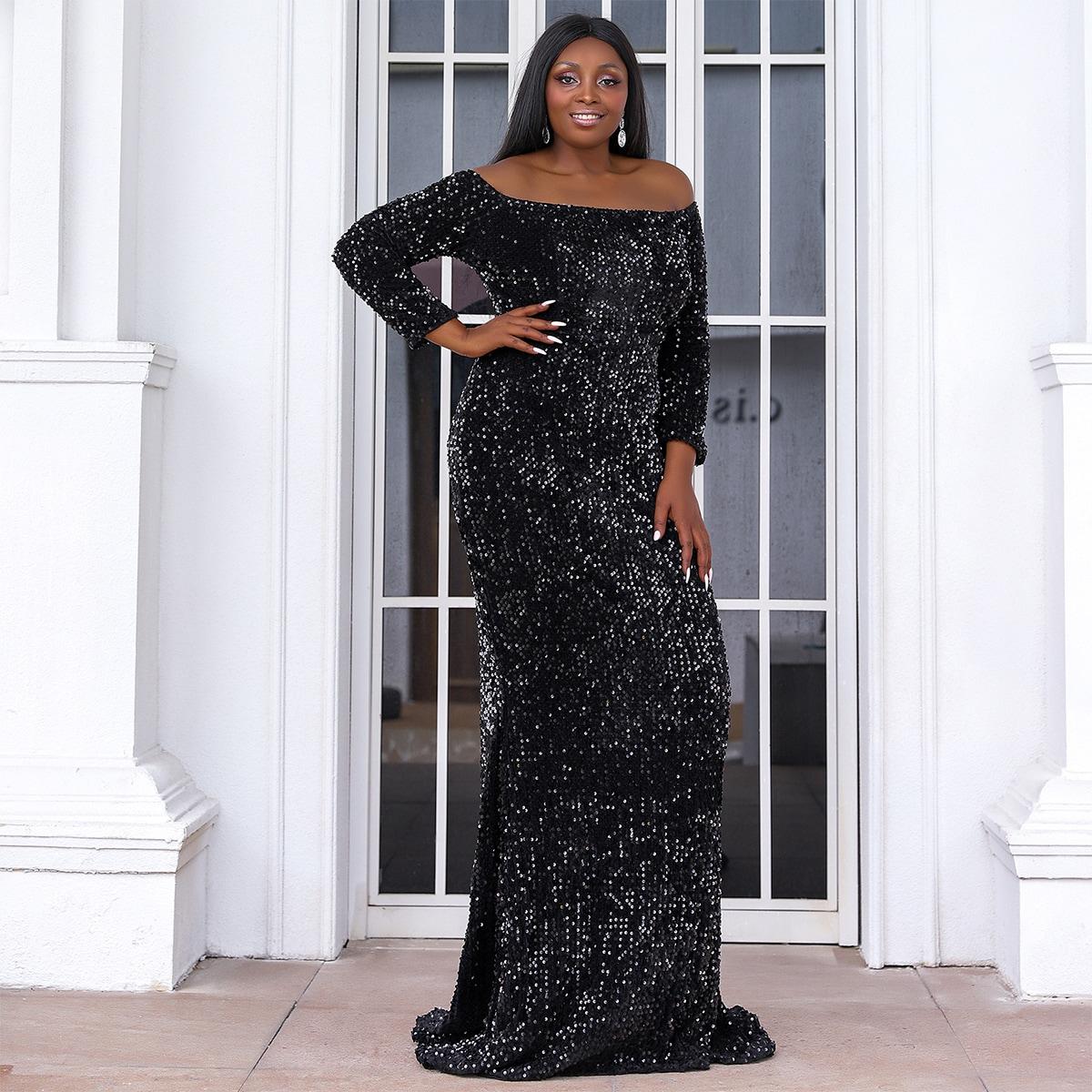 Plus Off Shoulder Floor Length Sequin Dress