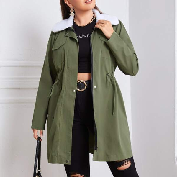 Plus Flap Pocket Borg Collar Belted Coat, Army green