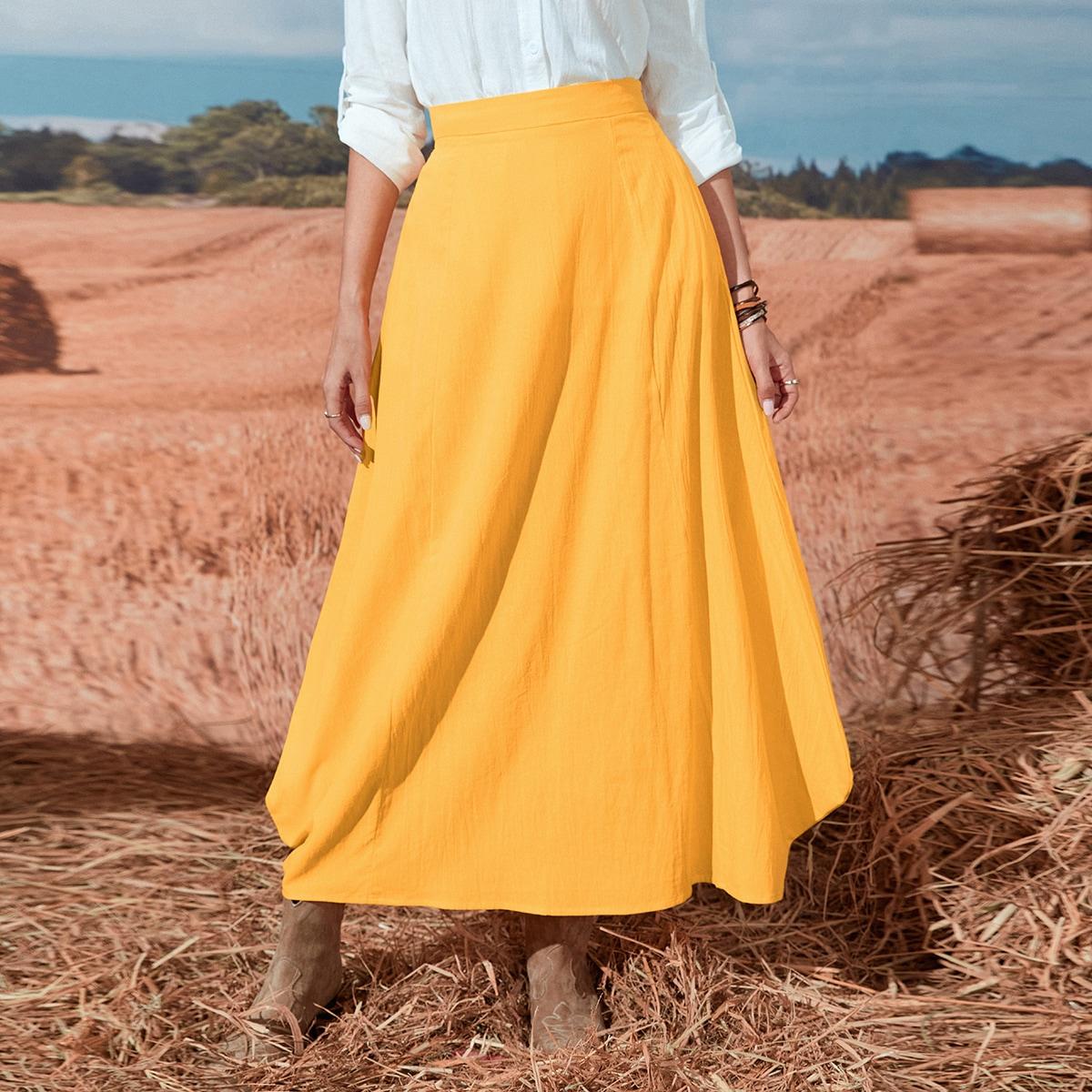 High Waist Solid A-line Skirt