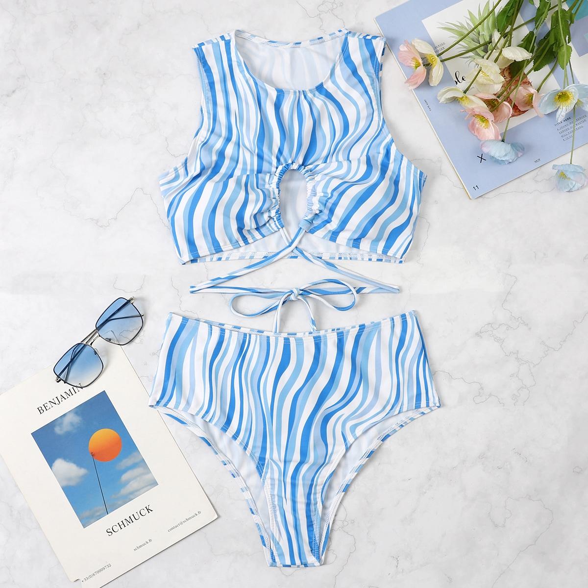 Fluid Pattern Bikini Swimsuit