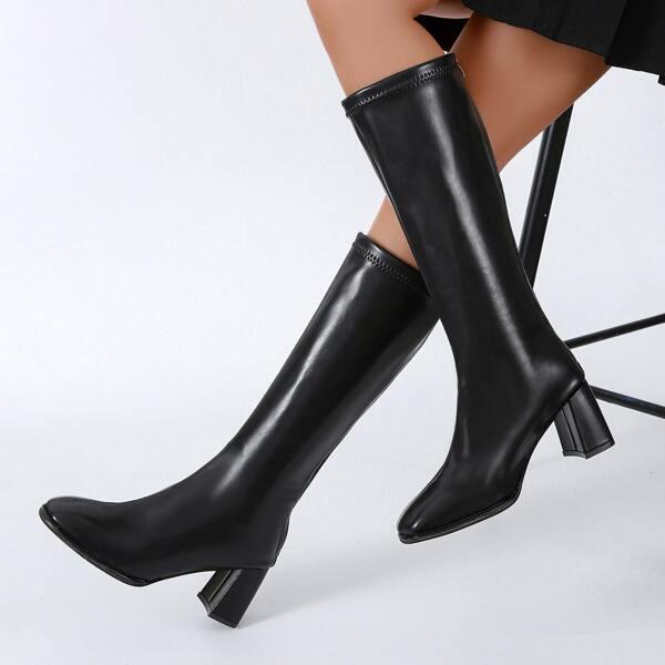 Minimalist Side Zip Chunky Knee Boots, Black