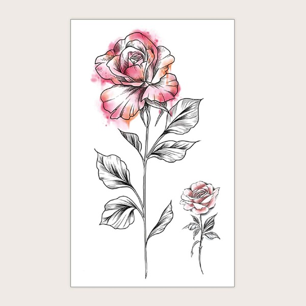 1sheet Floral Pattern Tattoo Sticker, Multicolor