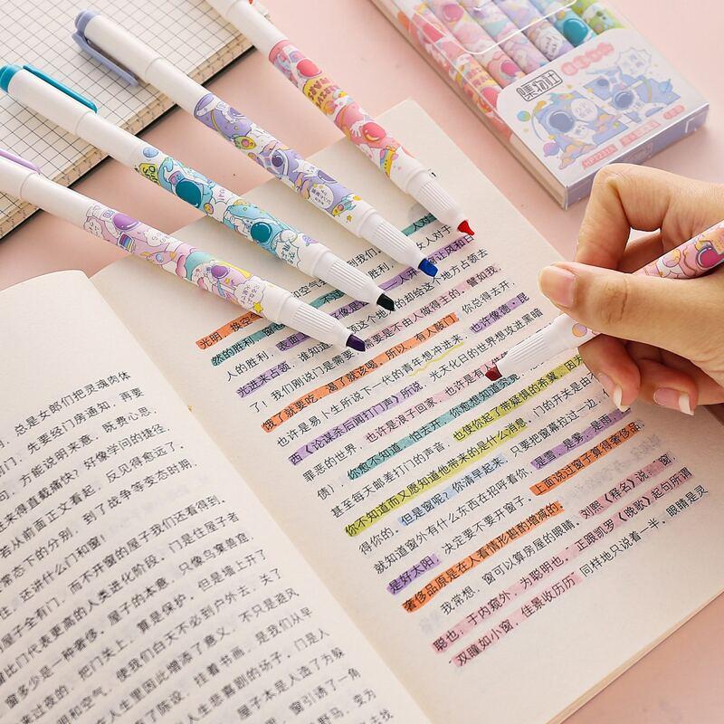 6pcs Astronaut Print Highlighter Pen, Multicolor