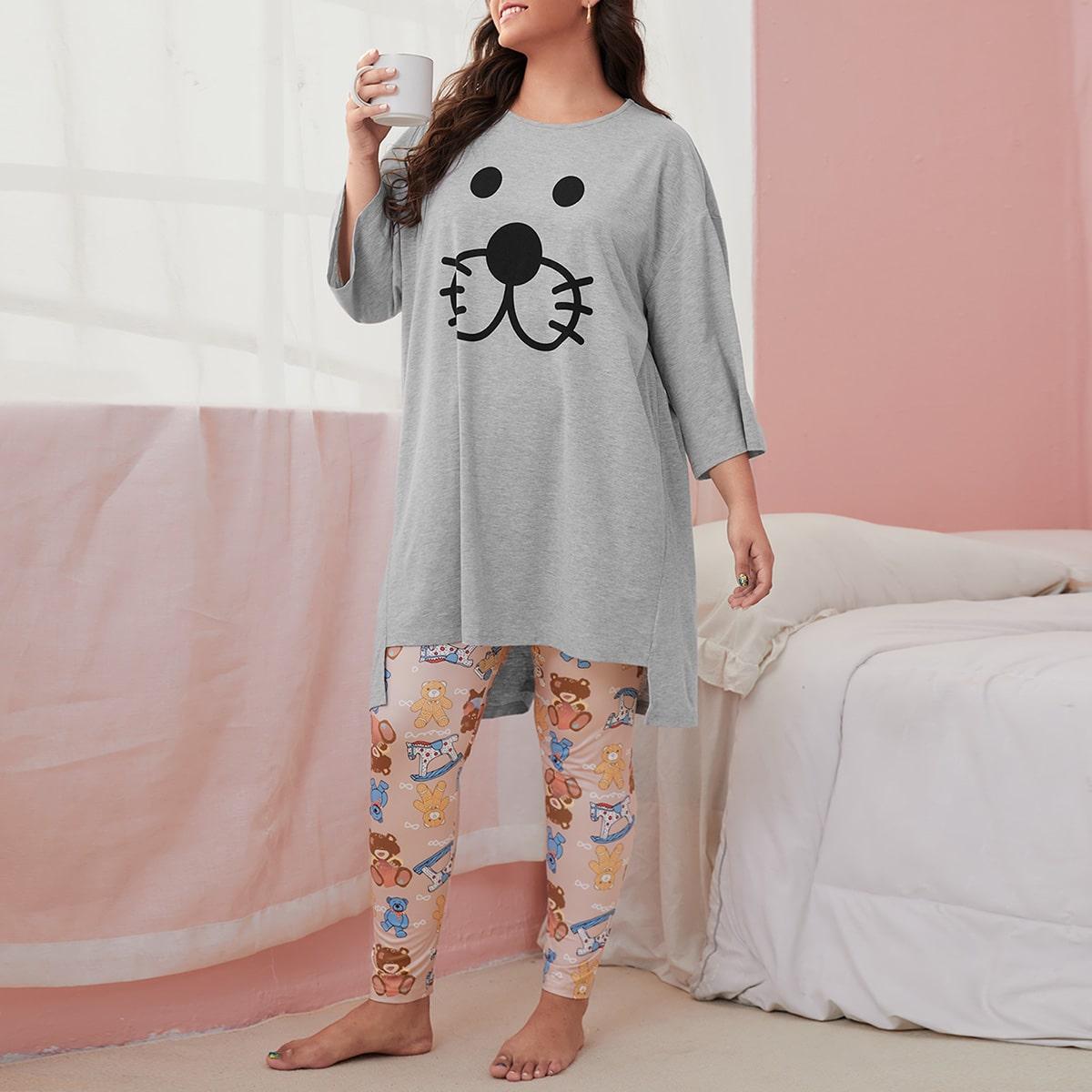 Асимметричная пижама размера плюс с мультипликационным принтом