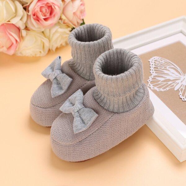 Baby Bow Decor Flats, Grey