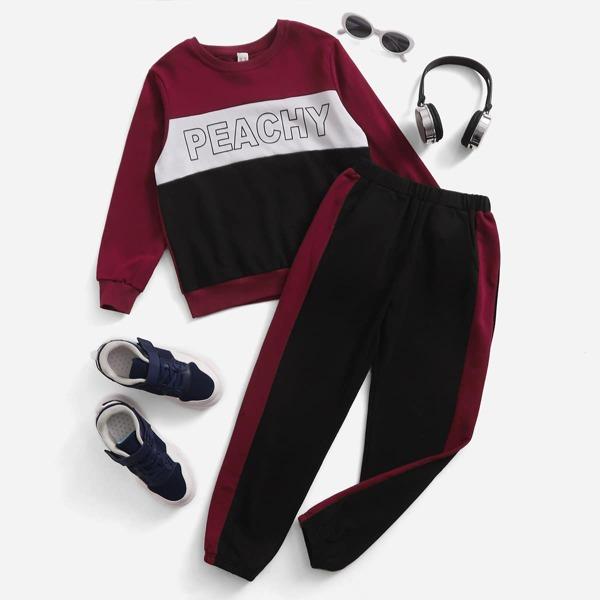 Boys Letter Graphic Cut And Sew Sweatshirt & Sweatpants, Multicolor