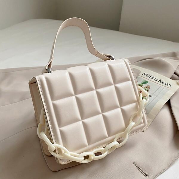 Minimalist Embossed Design Chain Decor Satchel Bag, White