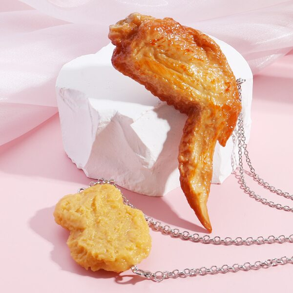 2pcs Chicken Wing Charm Necklace, Yellow