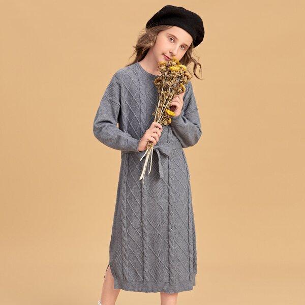 Girls Cable Knit Drop Shoulder Split Hem Belted Sweater Dress, Grey