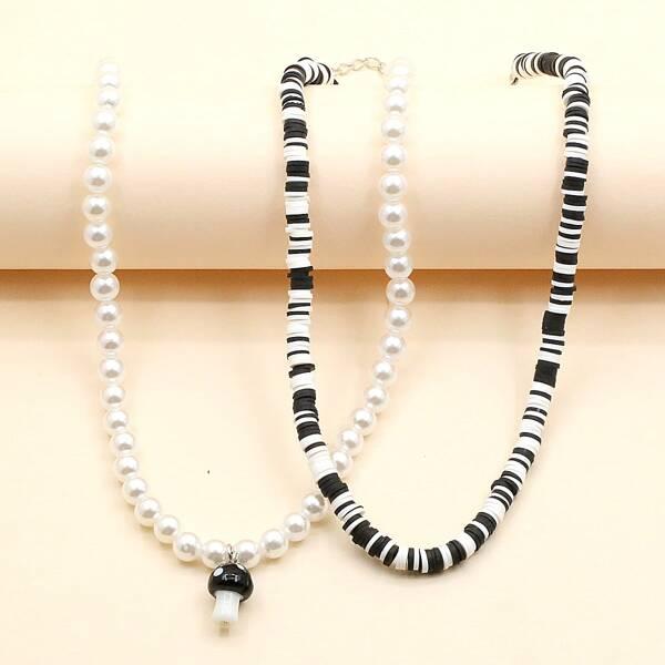 2pcs Faux Pearl Decor Beaded Necklace, Black