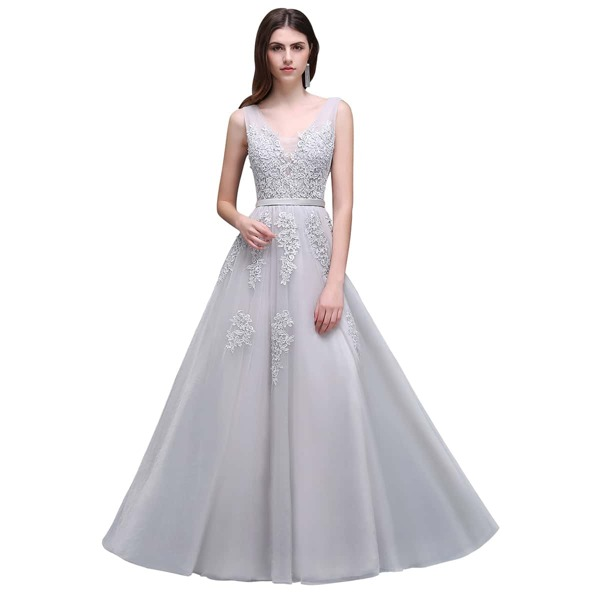 Guipure Lace Appliques V Back Mesh Bridesmaid Dress, Silver