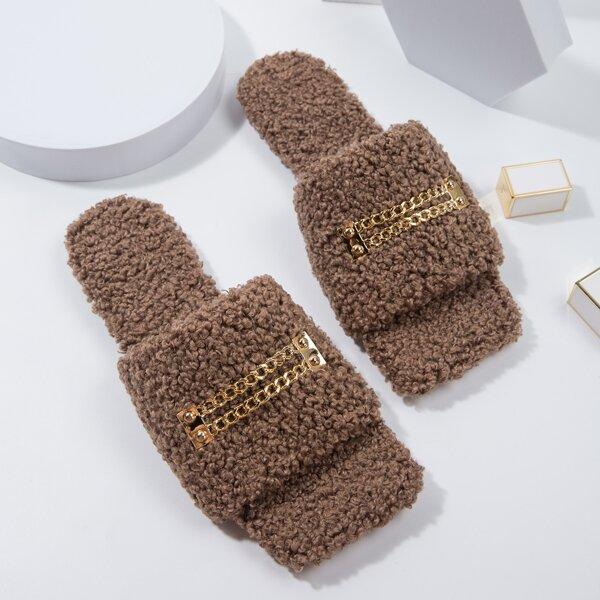 Chain Decor Fuzzy Slide Sandals, Brown