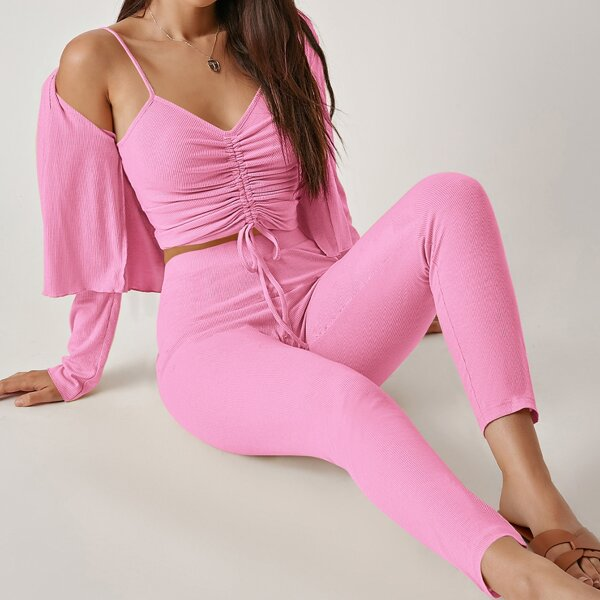 Drawstring Knot Ruched Cami Top & Leggings Set With Coat, Pink