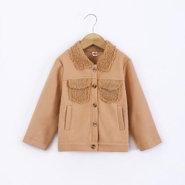 Toddler Girls Teddy Panel Flap Pocket Overcoat, Khaki