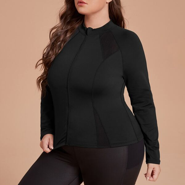 Plus Breathable Zip Up Sports Top, Black