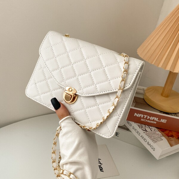 Minimalist Quilted Push Lock Chain Shoulder Bag, White
