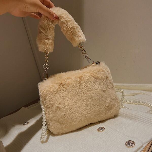 Minimalist Faux Pearl Decor Fluffy Satchel Bag, Khaki