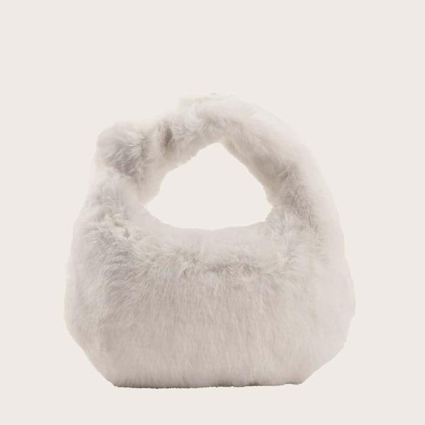 Minimalist Fluffy Satchel Bag, White