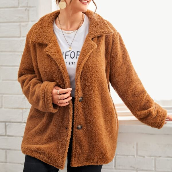 Plus Solid Button Through Teddy Coat, Ginger