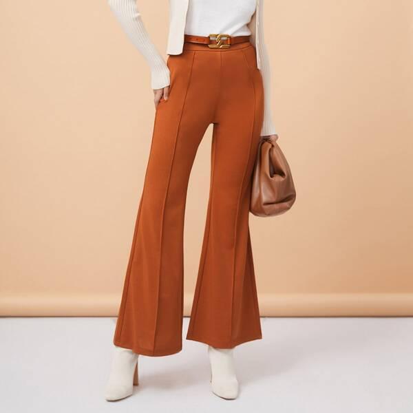 High Waist Seam Detail Flare Leg Pants Without Belt, Brown