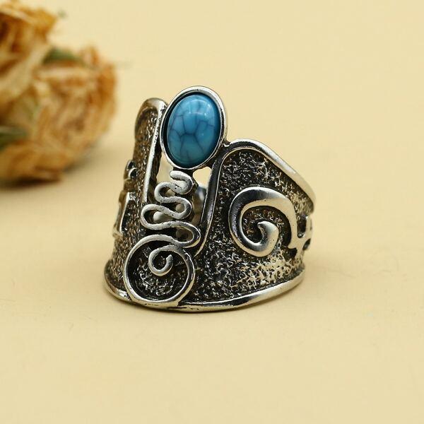 Stone Decor Vintage Ring, Antique silver
