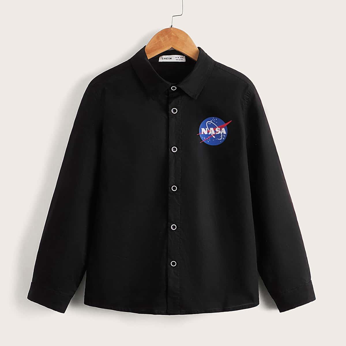 для мальчиков Рубашка с текстовым принтом