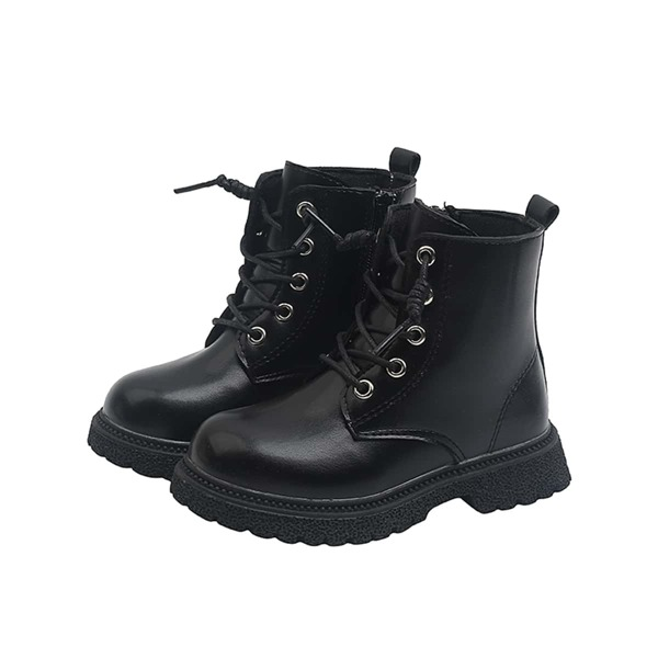 Girls Minimalist Lace-up Front Boots, Black