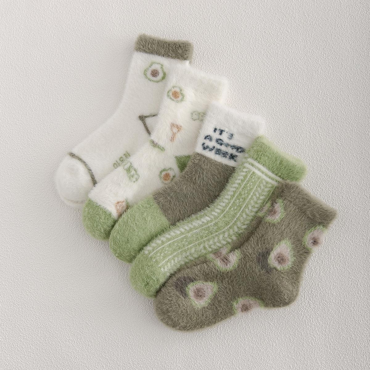 5 пар Плюшевые носки с принтом фруктов