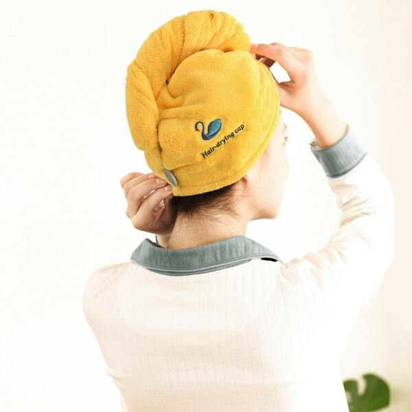 1pc Swan Embroidery Hair Drying Cap, Yellow