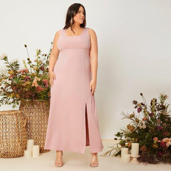 Plus Solid Split Thigh Bridesmaid Dress, Dusty pink