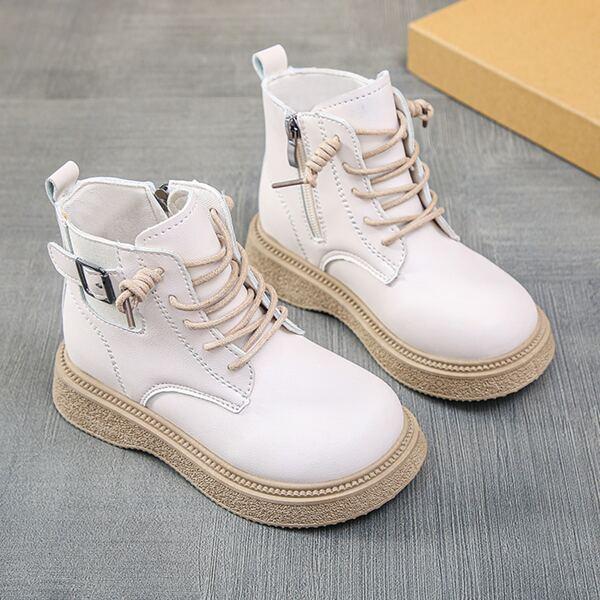 Girls Buckle Detail Side Zip Combat Boots, Beige