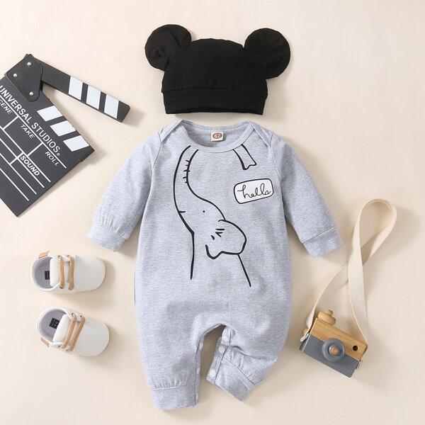 Baby Cartoon Elephant Print Jumpsuit & Hat, Grey