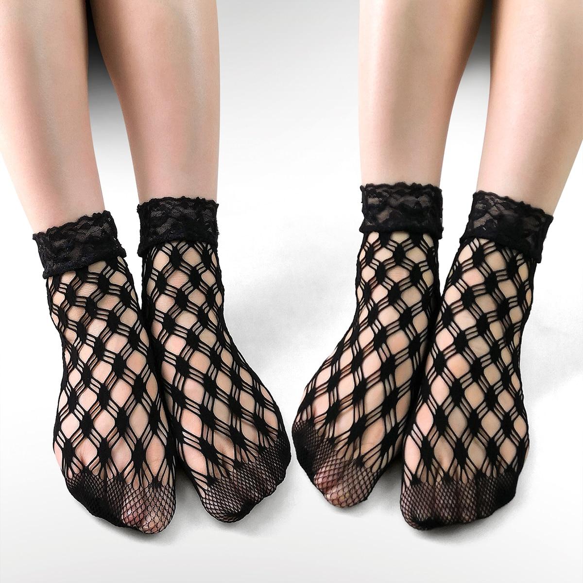 2 пары Сетчатые носки с кружевной отделкой