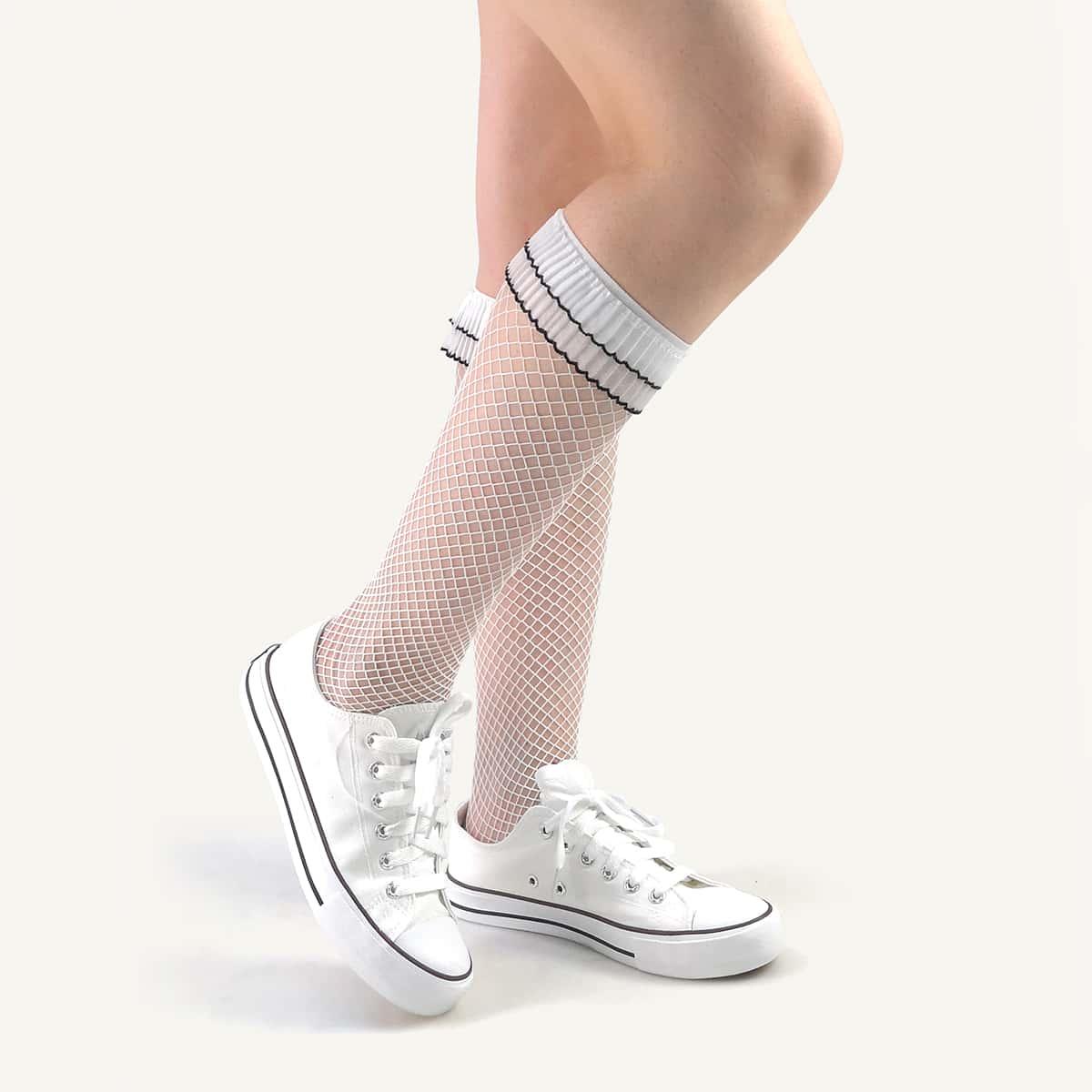 Сетчатые носки выше колена