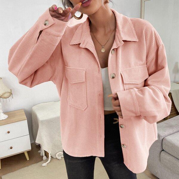 Flap Pocket Button Front Corduroy Coat, Pink