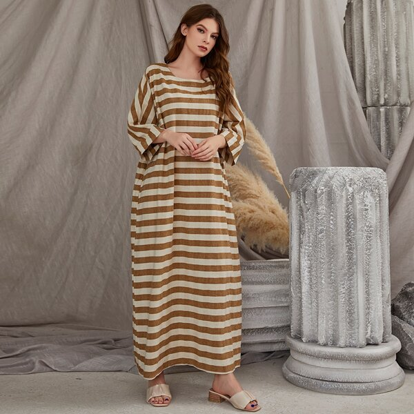 Striped Batwing Sleeve Tunic Dress, Multicolor