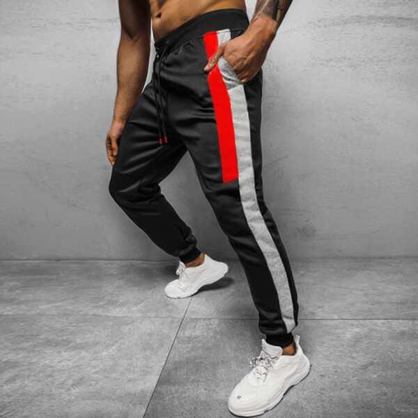 Men Contrast Panel Side Sweatpants, Black