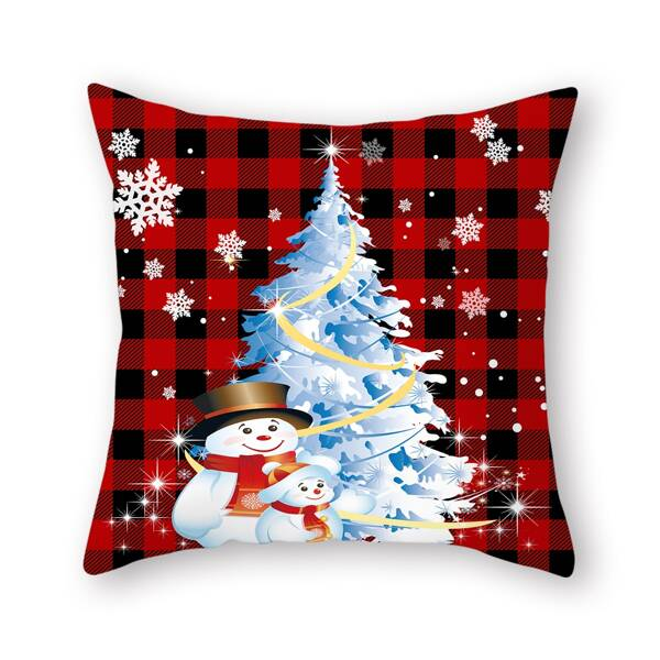 Christmas Snowman Print Cushion Cover Without Filler, Multicolor
