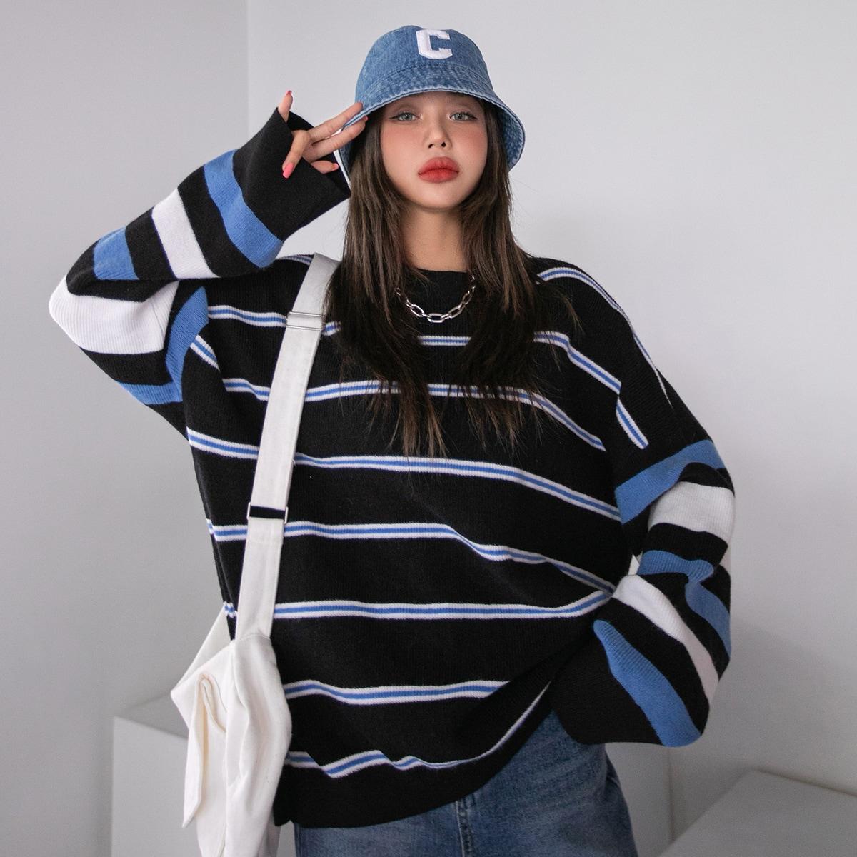 Striped Pattern Drop Shoulder Oversized Sweater