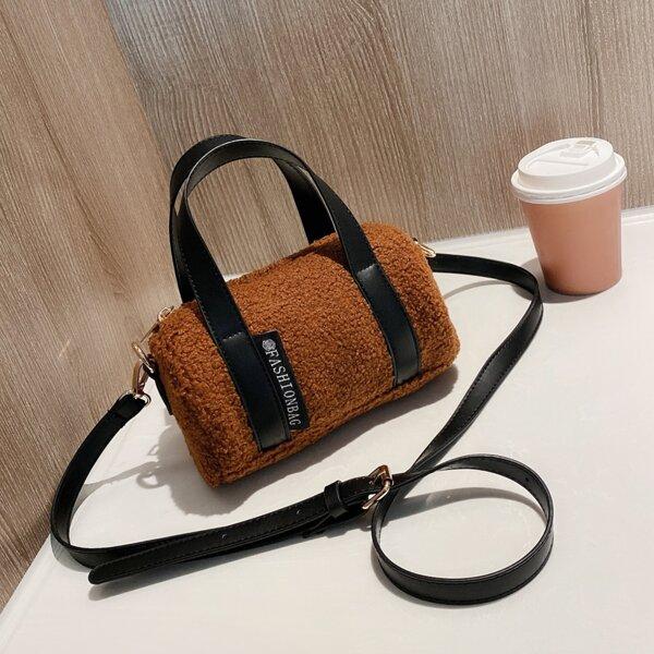 Girls Minimalist Fluffy Satchel Bag, Brown