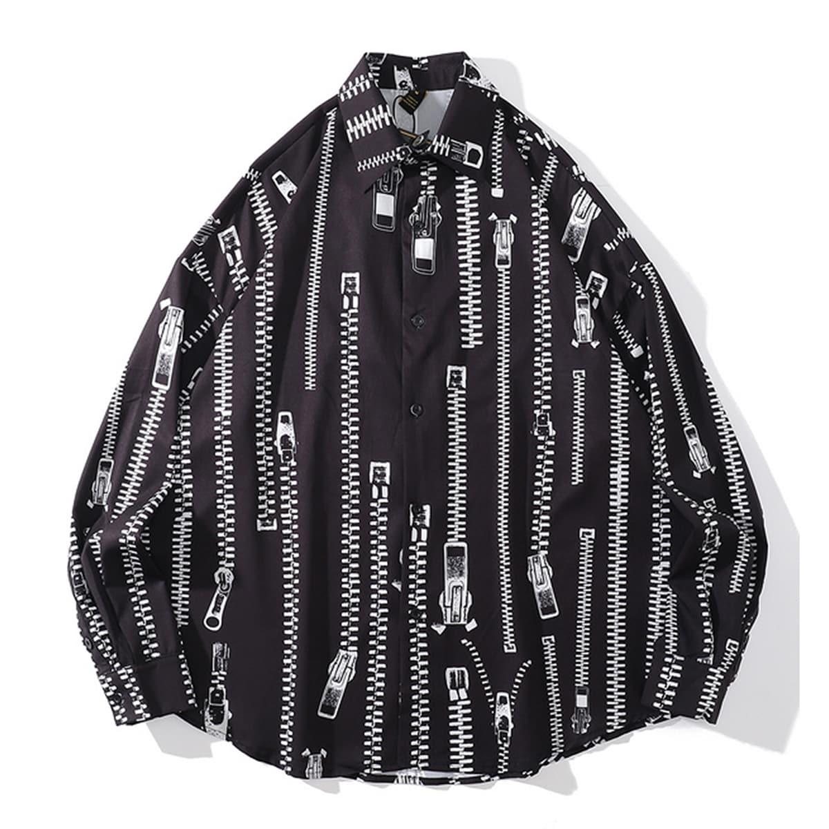 для мужчины Рубашка с молнией принтом