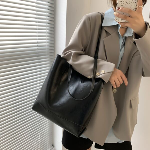 Minimalist Large Capacity Tote Bag With Inner Pouch, Black