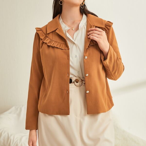Plus Solid Frill Trim Button Through Jacket, Ginger