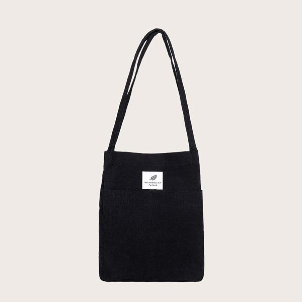 Corduroy Letter Patch Shopper Bag, Black