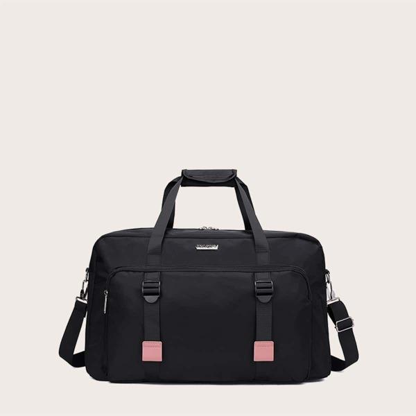 Minimalist Buckle Decor Duffle Bag, Black